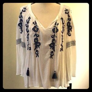 NWT I.N.C. 1960s Style Embroidered Peasant Blouse